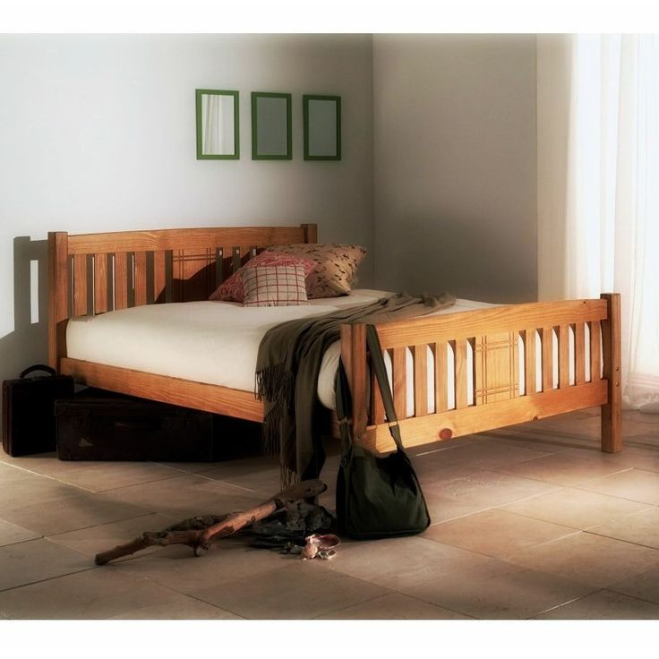 rustic bed frame wooden double bed 4ft6 country style furniture engraved panel