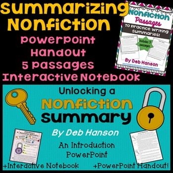 This product is currently 50% off because it was recently posted. It will return to its normal price of $5.50 on November 28 at 2PM CST. Summarizing Nonfiction Bundle: This bundle contains 4 resources that will help you teach students how to write a summary about a nonfiction text.To begin your instruction of how to write a nonfiction text summary, you will present the 40-slide PowerPoint.