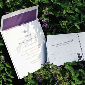 Brides: Romantic Purple Wedding Invite Suite. A leaf icon, lilac ink, and matching envelope liners make clean, modern invitations just playful enough—and the hue also perfectly matches the garden's flora. Invitations and reply cards, $7 each, from A2 Paperie.