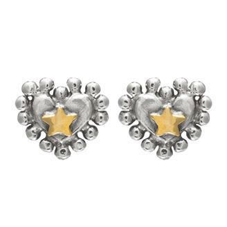 Nobbly heart with star centre stud earrings by Sophie Harley London.
