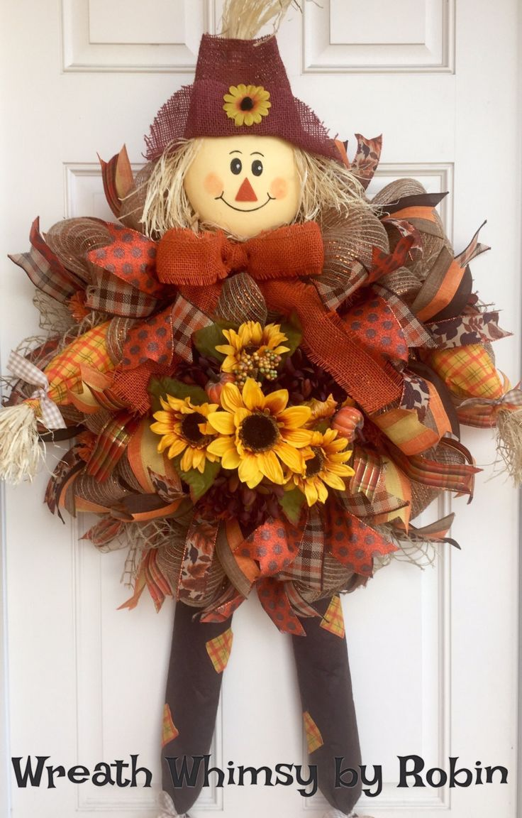 Fall Burlap Mesh Scarecrow Wreath with Sunflowers
