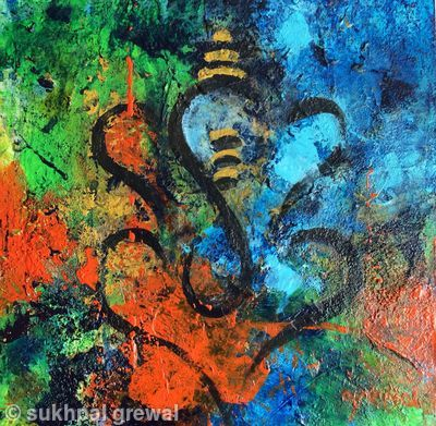 Ganesh abstract - Acrylic painting on canvas