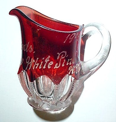 Antique Ruby Cut To Clear Glass 1908 Pitcher White Pine W