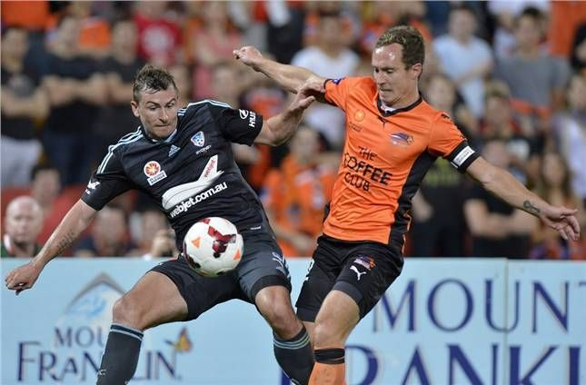 Seb Ryall gets stuck for Sydney FC in the round two clash against Brisbane Roar