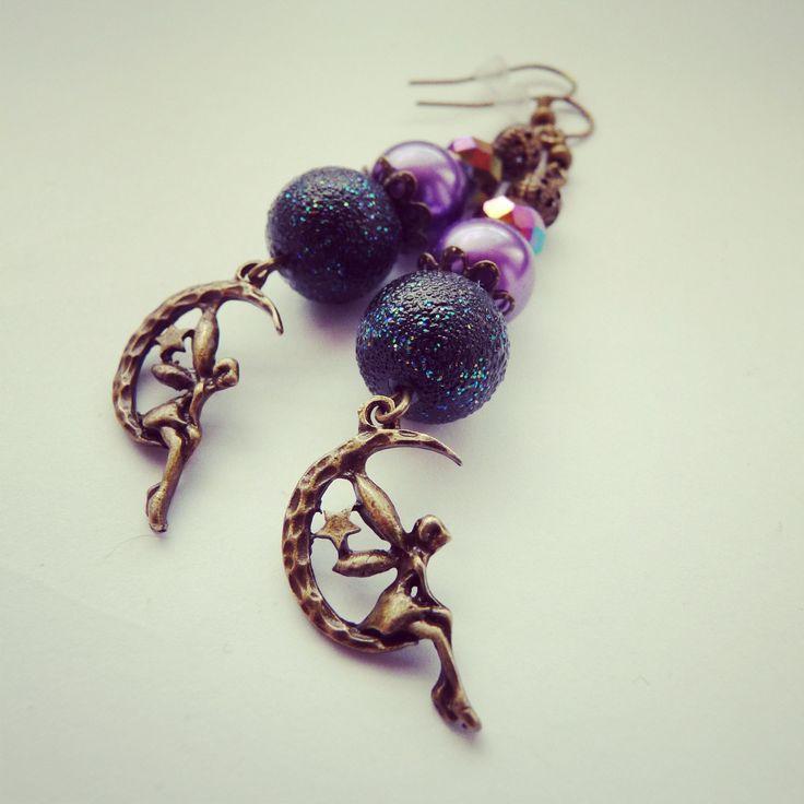 hand made earring, fairy glitter, black, purple BY SHARYS