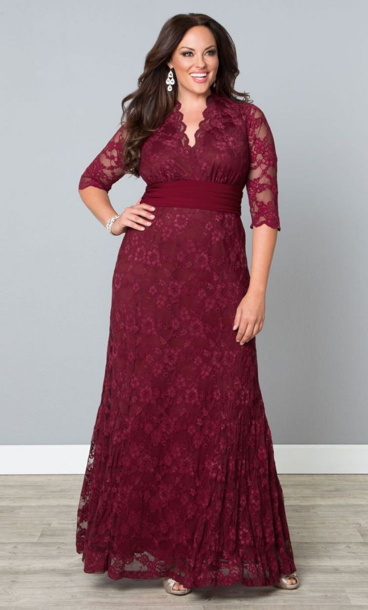 Screen Siren Lace Gown, Rose Wine (Womens Plus Size) From The Plus Size Fashion Community At www.VintageAndCurvy.com