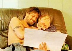 """Mads Mikkelsen as hot dad in cutest gif set on the planet. (""""Vildspor"""")"""