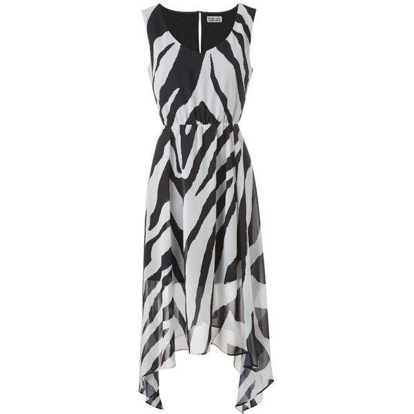 Simply Be Dip Hem Maxi Dress (37 CAD) ❤ liked on Polyvore featuring dresses, zebra print, v neck sleeveless dress, v neck dress, zebra print dresses, hi low maxi dress and high low maxi dress