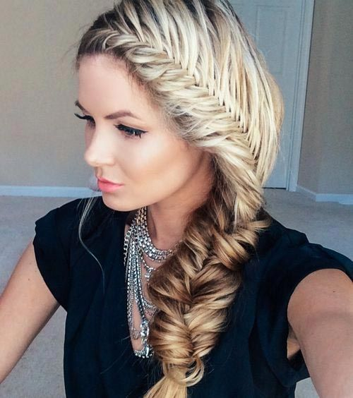 Side French Fishtail Braid Hairstyle