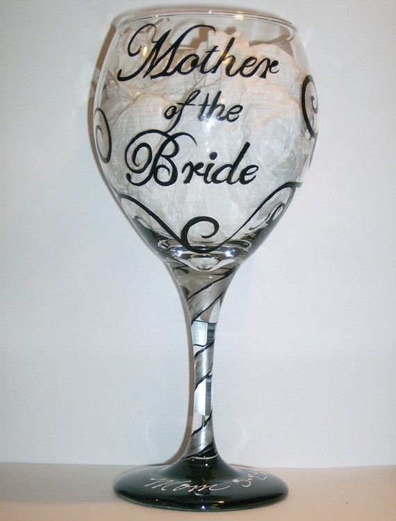 bride groom glasses | Mother of the Bride or Groom Hand Painted Wine Glass (Made to Order)