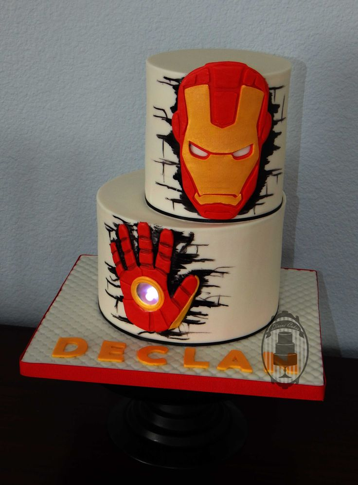 Iron Man birthday cake with glowing hand