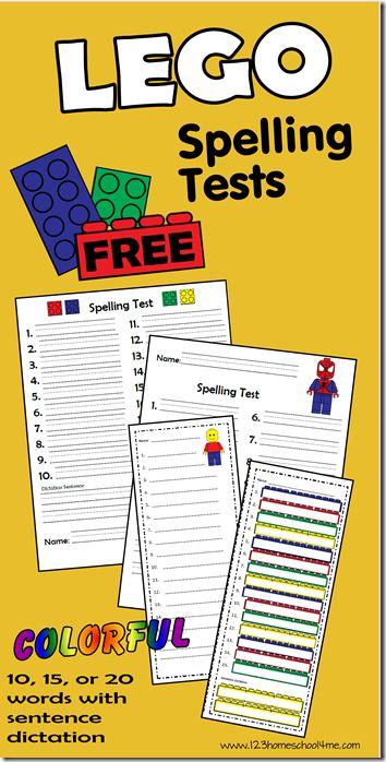 123 Homeschool 4 Me has FREE Lego Spelling Tests. These brick spelling tests work for 10, 15, or 20 words with or without sentence dictation. These multi-