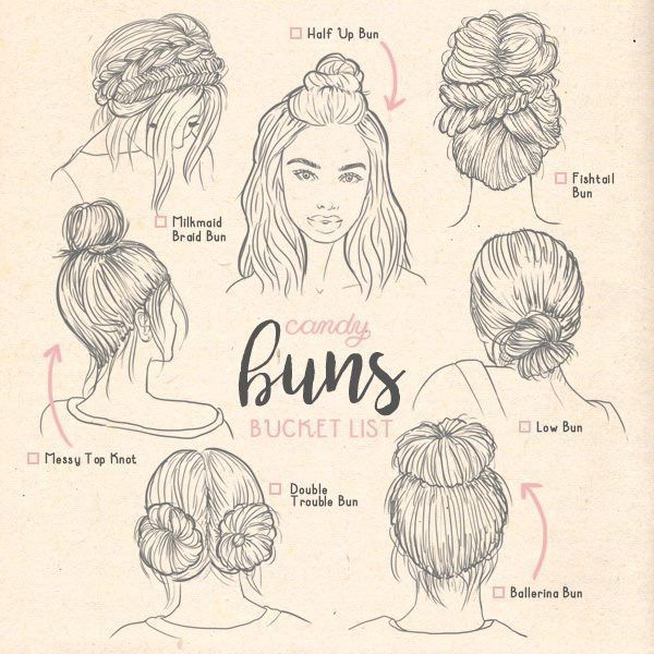 Types Of Buns Buns Ilustration Types Hair Sketch How To Draw Hair Types Of Buns