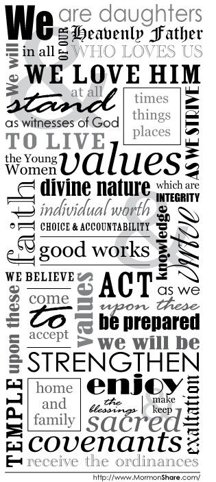 young women in excellence ideas | Young Women Theme Subway Art Style by Marti Watson This is to Kyri for being a Daughter of our Heavenly Father. This is what you shine. You walk with Faith. May the Lord bless you with your Journey.
