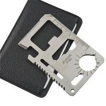 Ferramentas Multi 11 em 1 multifunções ao ar livre caça Survival Camping bolso militar cartão de crédito faca de prata(China (Mainland))