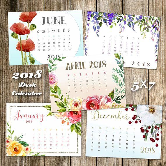 Calendar 2020 Printable Floral Desk Calendar Watercolor Etsy Desk Calendars Printable Calendar Calendar