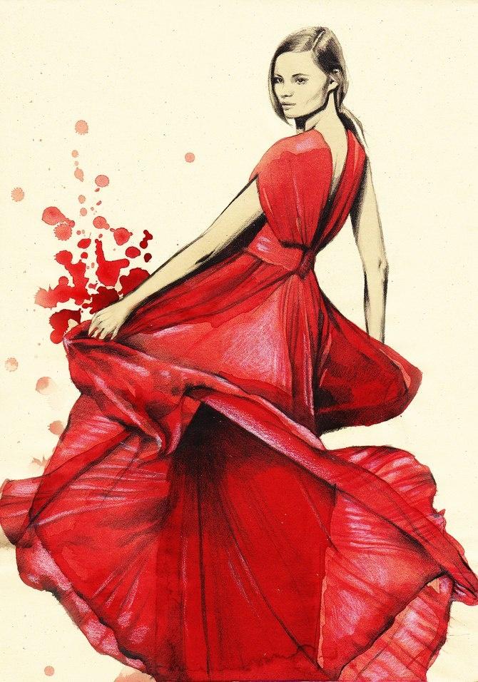 Девушка в платье рисованные картинки