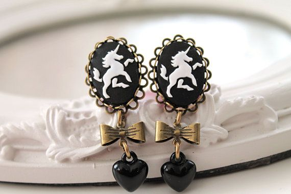 Unicorn dangle plugs 8mm 0G  stretched ears black by DinaFragola