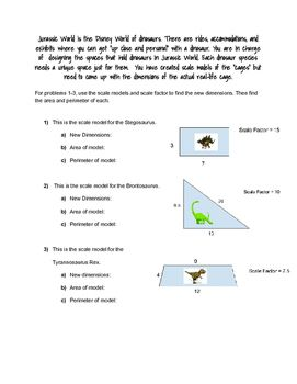"""In this worksheet, students will be using a scale model of a dinosaur cage and scale factor to find the dimensions of the """"actual cage"""". Students will also be given two similar cages, and must find the scale factor between the two. Students will also be finding area and perimeter"""