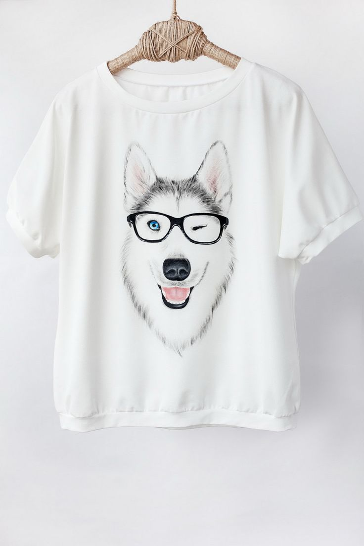 Hand Painted Designer Shirts Handpainted Siberian Husky Animal Funny Dog Shirt Tshirt Tee Painted Clothing Huskies Oversize Hand Drawn Cute (49.00 USD) by SnitkoStudio