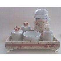 Kit Higiene Bebe Porcelana Coroa 3d Rosa Floral