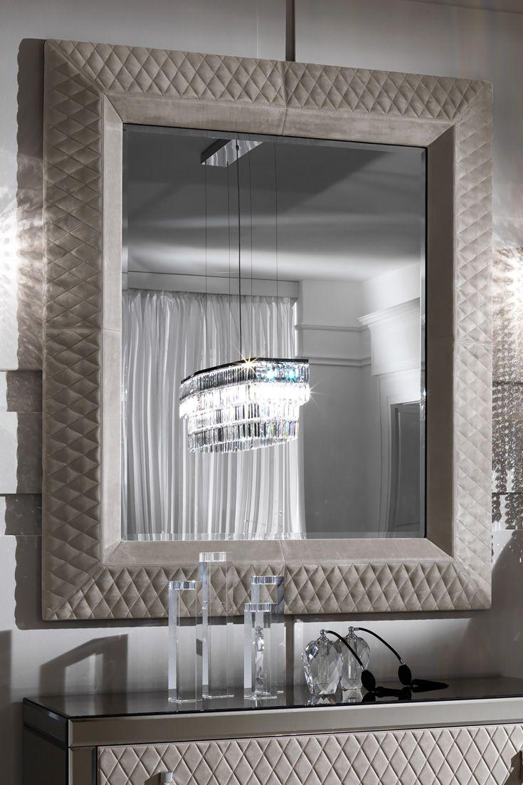 Large High End Italian Upholstered Nubuck Mirror