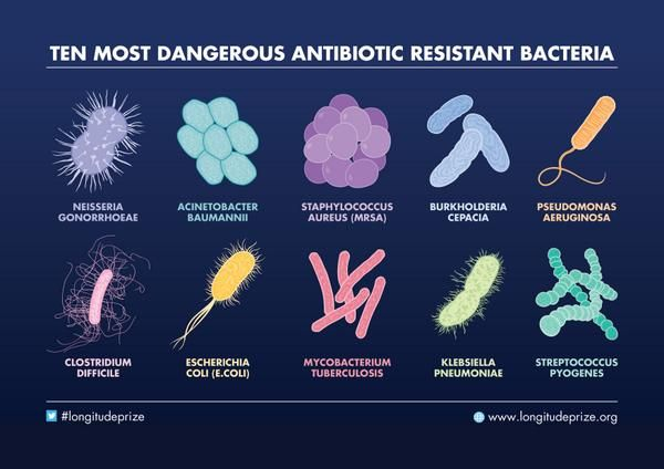 The Longitude Prize's graphic looking at the ten most dangerous antibiotic resistant bacteria. Learn more about them here: http://www.nesta.org.uk/news/antibiotic-resistant-bacteria