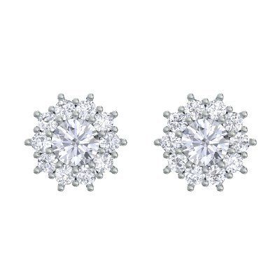 Florale Eleganz für atemberaubende Augenblicke! Weißgoldohrringe Diamantohrringe Ohrstecker Damen 14 Karat (585) Weißgold 2 Brillant 0.9 Ct....