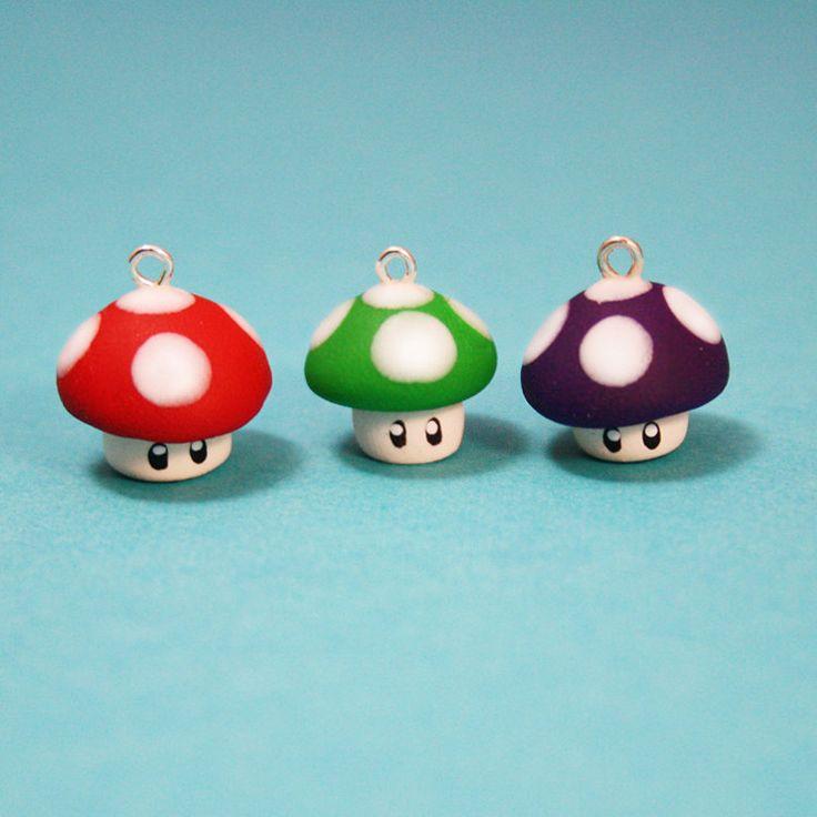 Super Mario Mushrooms Polymer Clay Charm 3 Pack. $5.00, via Etsy.,  Go To www.likegossip.com to get more Gossip News!