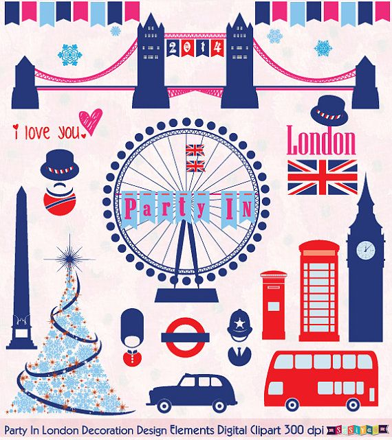 party in london symbol digital clip art design by