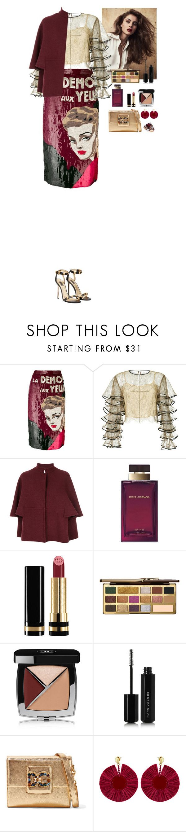 """Event"" by eliza-redkina ❤ liked on Polyvore featuring Olympia Le-Tan, HUISHAN ZHANG, Gianluca Capannolo, Dolce&Gabbana, Gucci, Too Faced Cosmetics, Chanel, Marc Jacobs, Oscar de la Renta and LE VIAN"