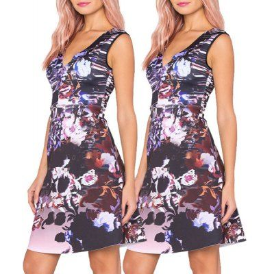 Chic Sleeveless Plunging Neck Floral Print Women's Dress