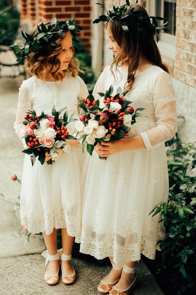 Must Haven 2018: 21 Lace Flower Girl Dresses ❤ lace flower girl dresses straight white long sleeves high neckline len lav ❤ Full gallery: https://weddingdressesguide.com/lace-flower-girl-dresses/ #bride #wedding #flowergirldresses