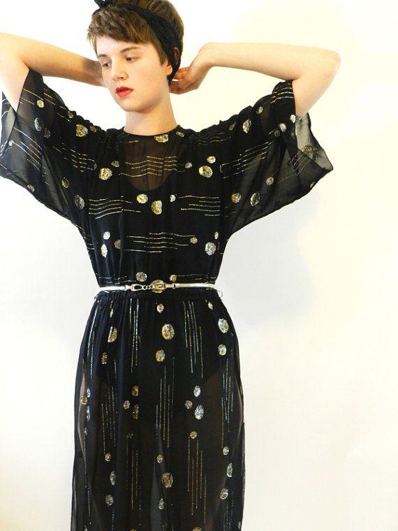 Metallic Moon Sheer Dress via goodstyleshop