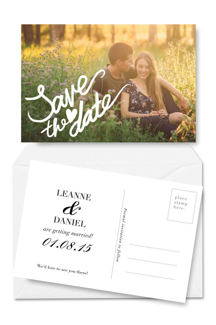Save the Date Postcard Template Wedding Photo