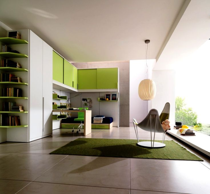 good interior design for home%0A Stylish green home study room