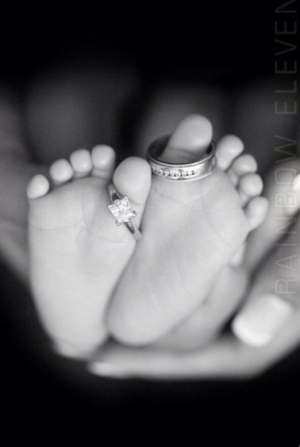"Love this photo idea. Wedding rings on baby's toes  ""Our family has grown by two feet"""