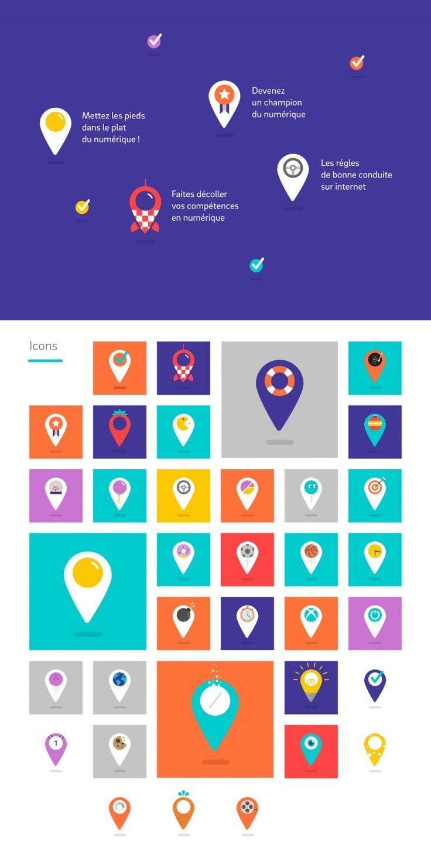 Icons, Logo Branding, webdesign minimal flat design laplace-numerique-web  http://www.grapheine.com/portfolio/la-place-numerique