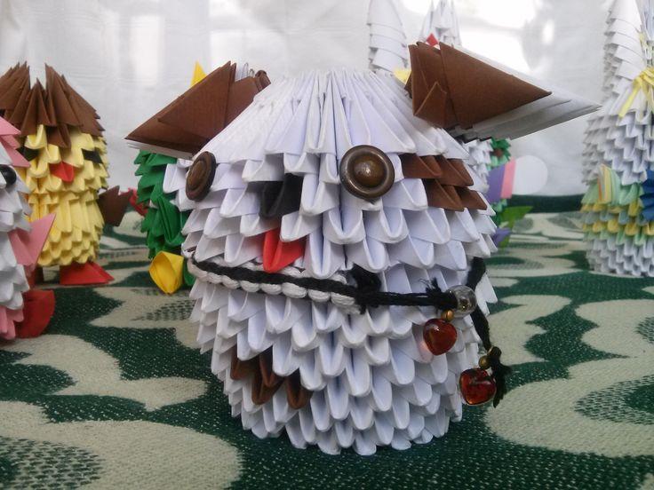 Ham! Ham!  Mihaela's Origami3D diy handmade paper doggie decoration.