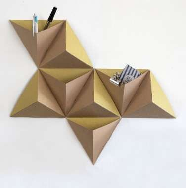 Mounted Origami Organizers - The Tri-Angles Wall Pocket Kit Creates Geometrically Pleasing Boxes (GALLERY)