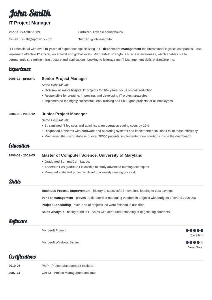free resume templates uptowork