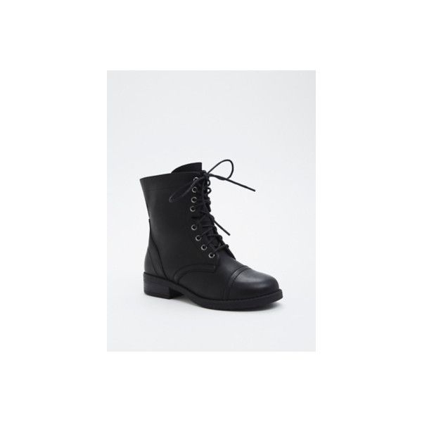 Torrid Wide Lace Up Combat Boots - Wide Width ($52) ❤ liked on Polyvore featuring shoes, boots, black lace up boots, military boots, vegan ankle boots, black army boots and black bootie boots