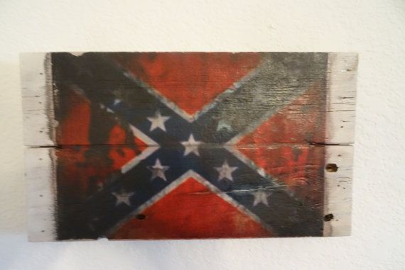 Rustic Reclaimed Wood Confederate Flag Sign By