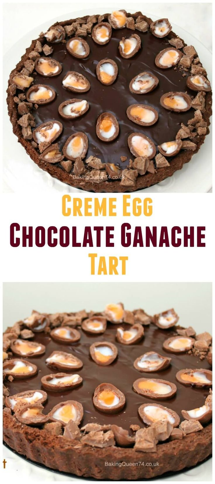Creme Egg chocolate ganache tart - a wonderfully indulgent Easter dessert!