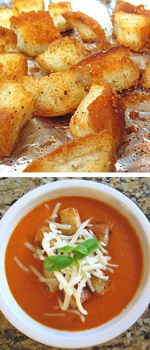 Creamy Tomato Basil Soup with Homemade Croutons - just like panera - only way healthier for you! #paneracopycat #eatyourveggies http://domesticcontessa.com