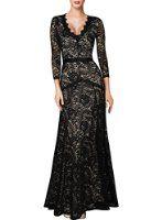 Miusol Women's V-Neck Lace Long Sleeves Evening Midi Dress