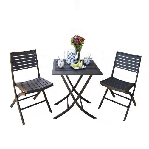Bistro Table And Chairs Target: Seville Classics 3-Piece Folding Bistro Set Seville