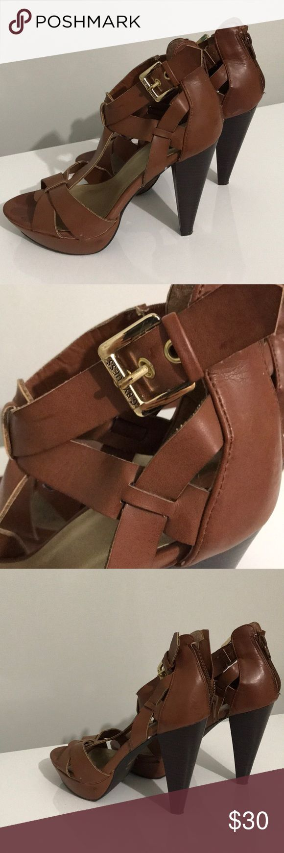 Brown guess thick heel size 7 women's Strappy brown leather heels with gold buckle  Zipper on back and adjustable ankle buckle  G by Guess  Worn once  Perfect for all seasons - neutral color and style  Can fit 7.5  Will measure heel if needed  Open toe strappy sandals summer cruise wear beach night out G by Guess Shoes Heels
