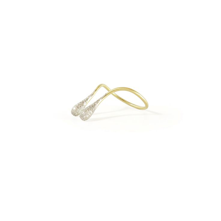 Rallou 18k yellow gold Moment ring with pave diamonds, size 7 1/2. The wrapring comprises two droplets that are micro-paved with a total of 122 white diamonds (0.41ct). #18k #diamondpave #diamond #Rallou #ralloumindfullness  #AugustLA #LosAngeles #jewellery #finejewelry #gold #futureheirlooms #jewelry #Handmade #ring
