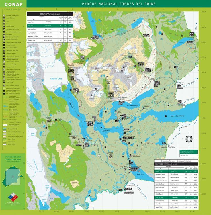 Mapa de las Torres del Paine. Fuente: torresdelpaine.org